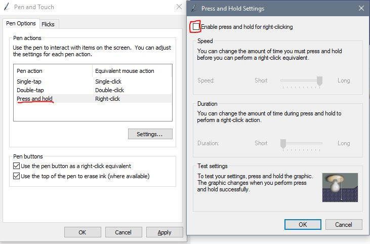 windows pen settings, disable press and hold for better pen performance